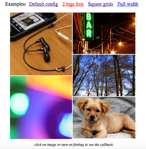 angular facebook photo grid with 2 bigs image first